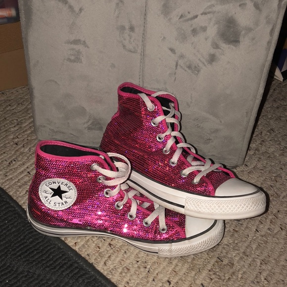8b8ecfd204b8 Converse Shoes - Sparkly pink converse high tops